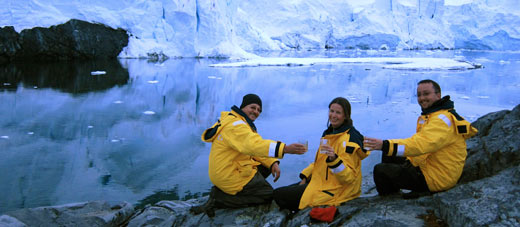 The three of us share a toast before a night spent camping in Antarctica.