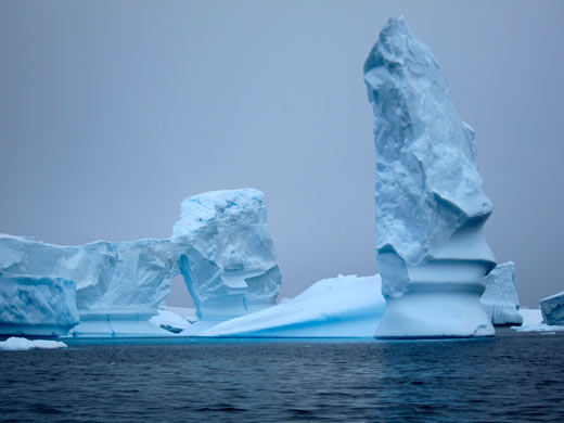 Crazy blue icebergs.