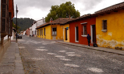 A shot of a street in Antigua.