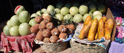 A pile of fruit at Antigua's central market.