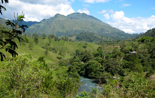 The view from our campsite at the lodge in Lanquin.