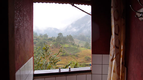 The view from the shower at the lodge in Lanquin.