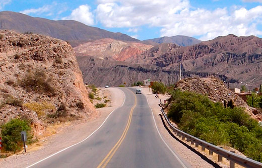 A drive up a colorful canyon north of Purmamarca.