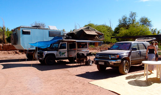 Three new overlanding friends parked at our campsite in San Pedro de Atacama.