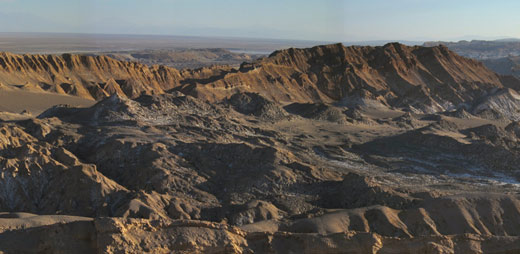 A panorama shot of the Valley of the Moon.