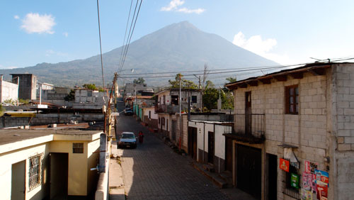 The view of the volcano behind Ciudad Vieja from the roof.