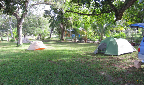 Our campsite at the Mayan Wells in Belize.