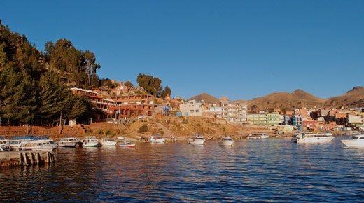 Arriving back at Copacabana from Lake Titicaca.