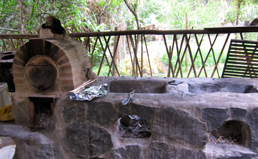The wood-fired oven and grill at Altai Oasis in Sorata.