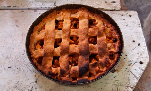 Fresh apple pie from the wood-fire oven.
