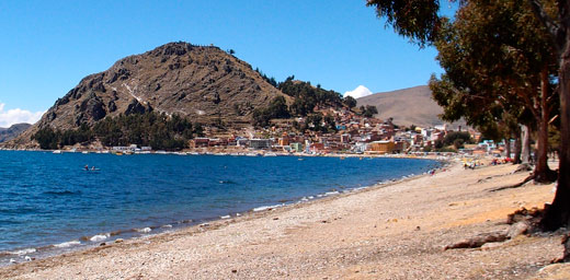 A shot of the shores of Lake Titicaca and Copacabana.