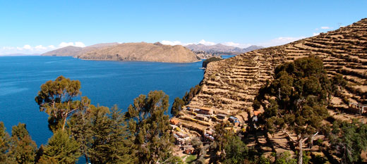 A shot of Isla del Sol and Lake Titicaca.