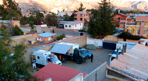 Our campsite in a parking lot near La Paz.