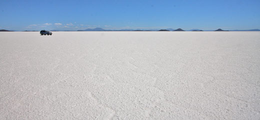 Blue in the salt flats of Uyuni.