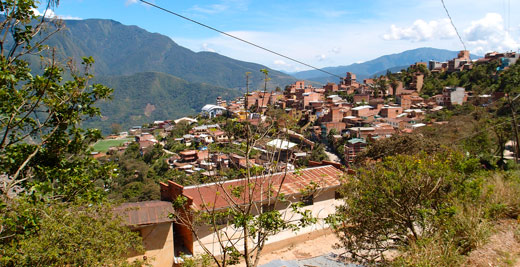 The town of Coroico in Bolivia.