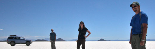 The three of us in the salt flats of Uyuni.