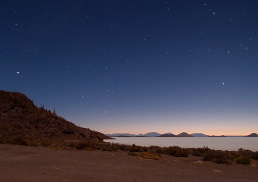 Stars over the salt flat.