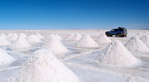 Piles of salt on the salt flats.