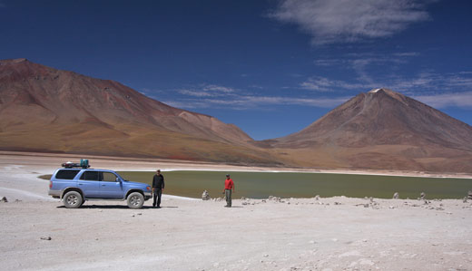 Our car parked in front of Laguna Verde.