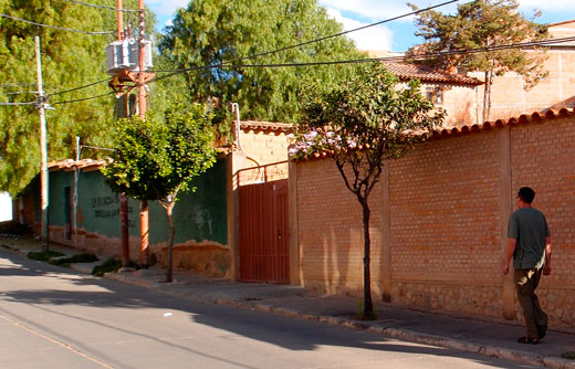 The entrance gate to the campground in Sucre.