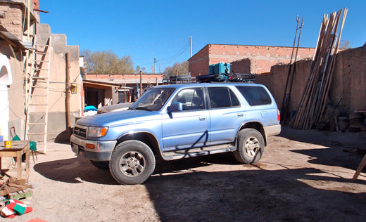 The parking lot at our hotel in Uyuni.