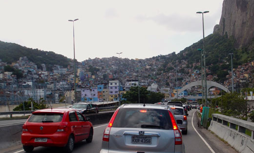 Favelas as we drive into Rio.