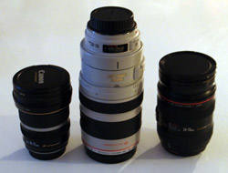 Three camera lenses