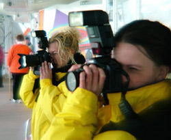 Photographers on a cruiseship