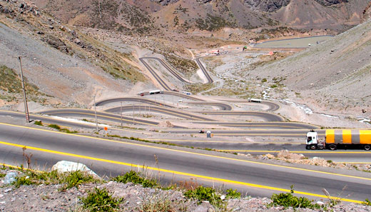 The curvy road leading down the Andes into Chile.