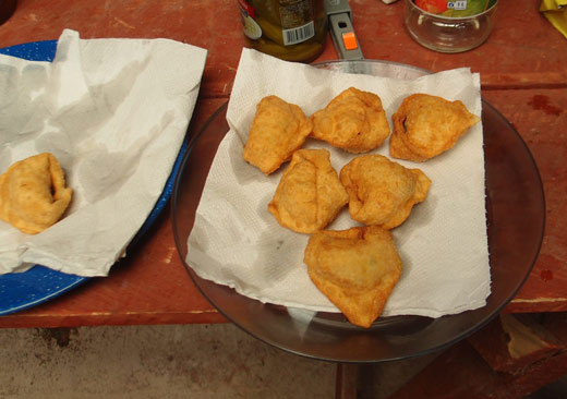 Fried wontons for lunch.
