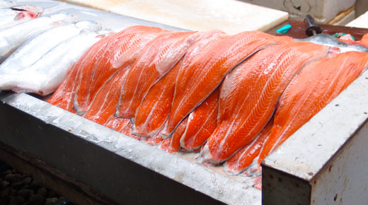 Beautiful slabs of salmon at the market.
