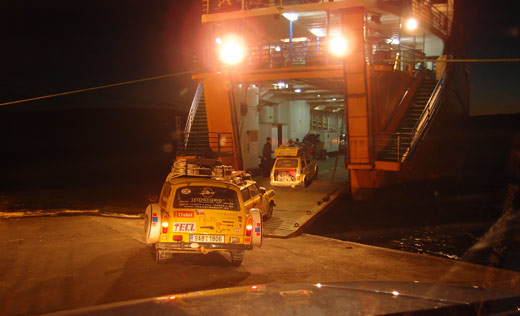 Loading up into the ferry.