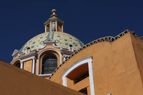 The church on top of the pyramid in Cholula.