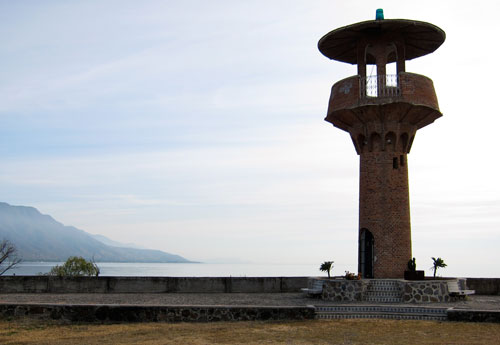 A lighthouse near our campsite in Jocotepec.