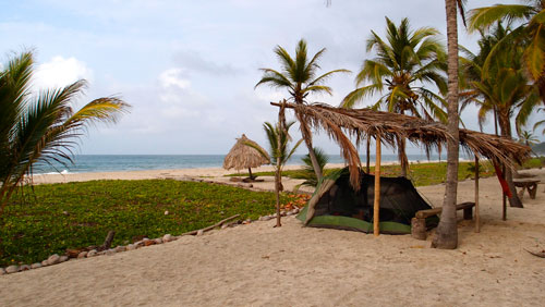 Camping on the beach in Tayrona.