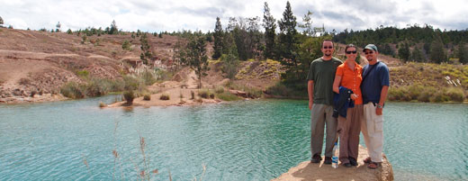 The three of us at the Blue Pools in Villa de Leyva.