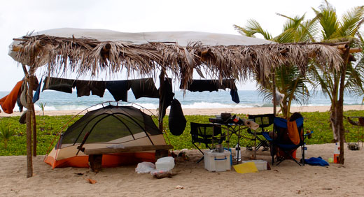 Our messy campsite at Tayrona National Park.