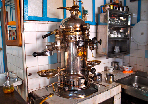 An antique espresso machine in the town of Salento.
