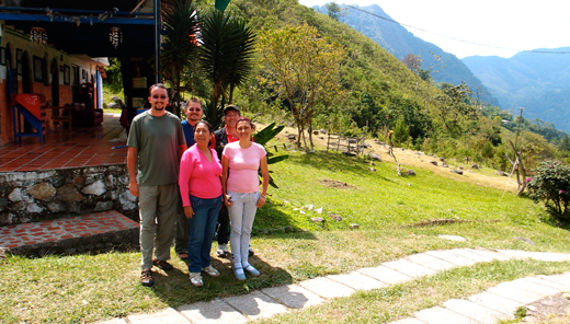 Jared and Kobus with the owner and managers of the finca near Pance.