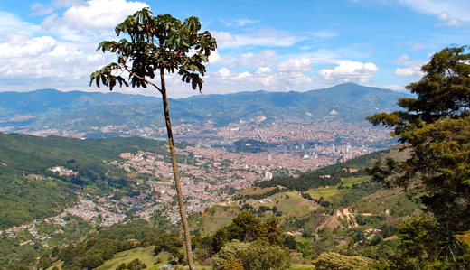 A view of the city of Medellin from the surrounding hills.