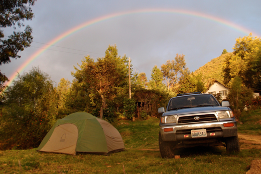 Our campsite under a rainbow in Guatavita.