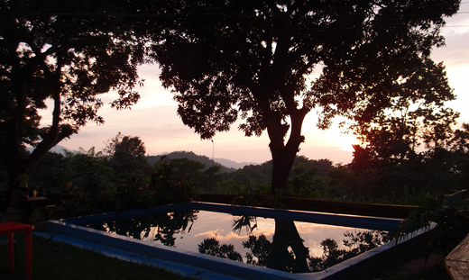 The pool and sunset at San Souci.