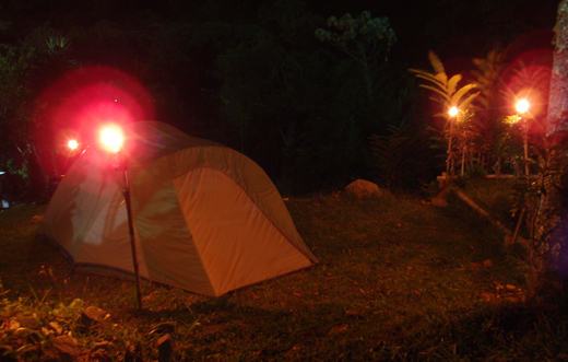 Tiki torches around our tent at Reserva Ambiental.