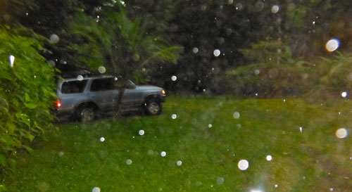 Parking the car in the rain at 6am before our hike.