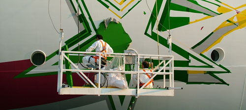 Crew painting the Norwegian Star