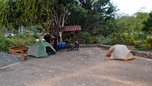Our camping area at Puyango Petrified Forest.