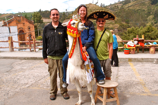 The three of us and a llama.