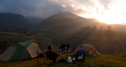 Our campsite outside Otavalo, Ecuador.
