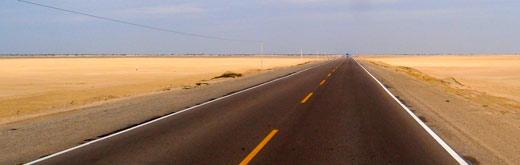 The Pan-Am highway cutting through a Peruvian desert.
