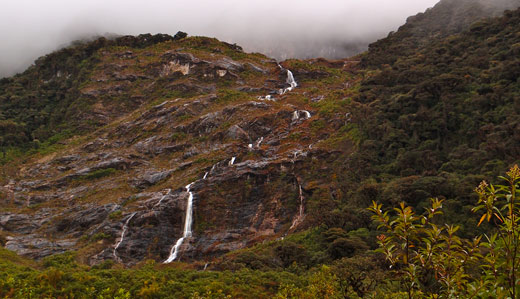 A waterfall in Sangay National Park.